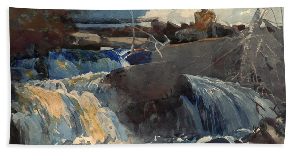 Winslow Homer Bath Sheet featuring the drawing Casting In The Falls by Winslow Homer