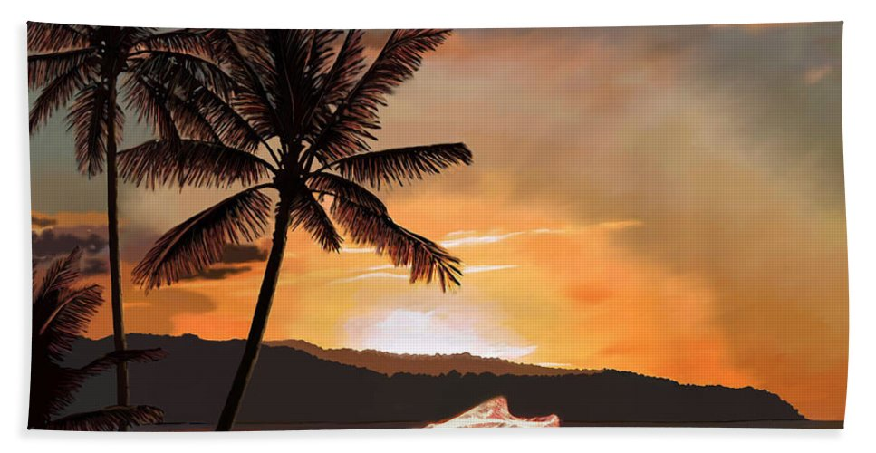 Catching Bath Sheet featuring the painting Casting Net At Sunset by James Mingo