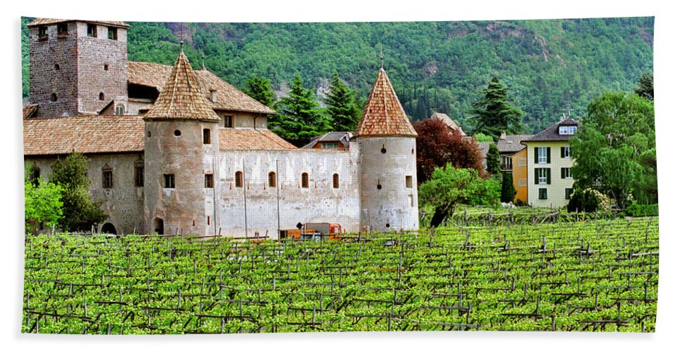 Castle Bath Sheet featuring the photograph Castle And Vineyard In Italy by Greg Matchick