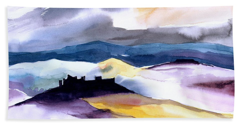 Water Bath Towel featuring the painting Castle by Anil Nene
