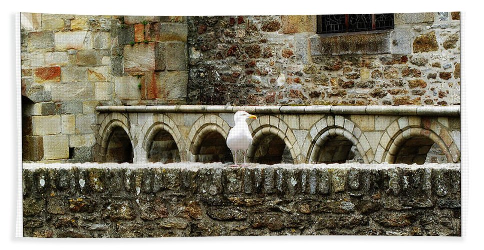 Arch Hand Towel featuring the photograph Castle Bird by Joan Minchak