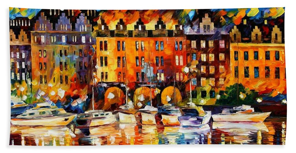 Afremov Hand Towel featuring the painting Castle By The River by Leonid Afremov