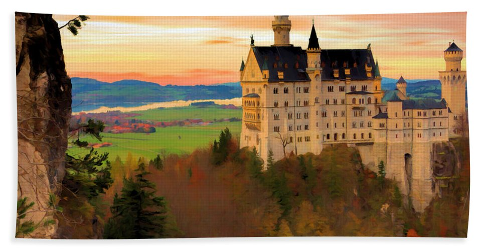 Castle Hand Towel featuring the digital art Castle Dawn by Ronald Bolokofsky