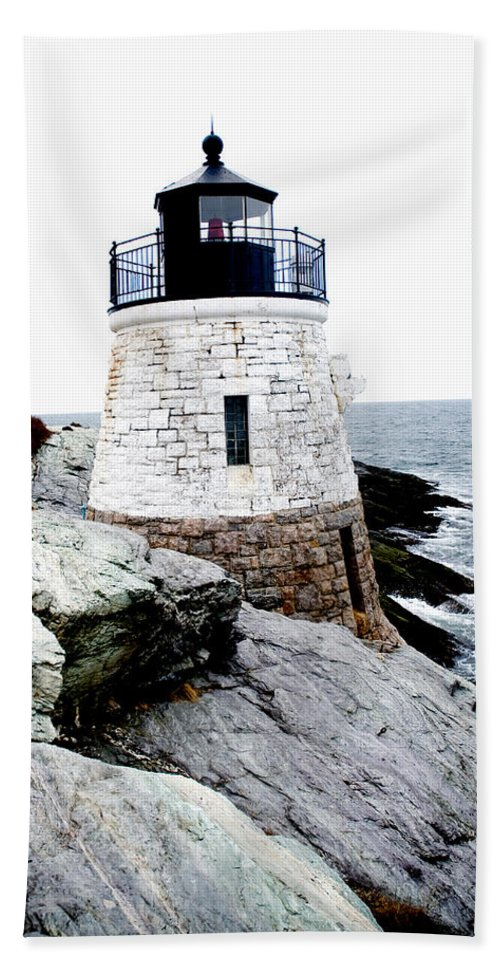 Lighthouse Bath Sheet featuring the photograph Castle Hill Light by Greg Fortier
