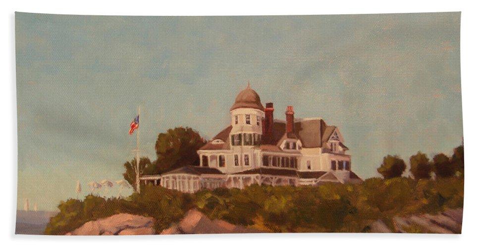 Castle Hill Newport Ri Hand Towel featuring the painting Castle Hill Newport Ri by Betty Ann Morris