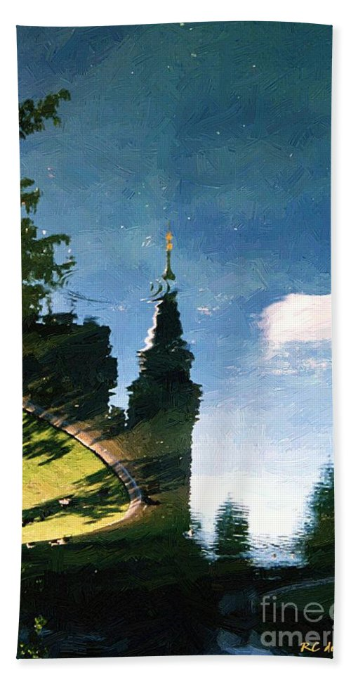 Castle Hand Towel featuring the painting Castle In The Lake by RC DeWinter