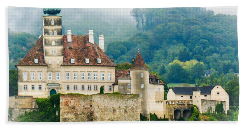 Mist Hand Towel featuring the photograph Castle In The Mist by Lisa Kilby