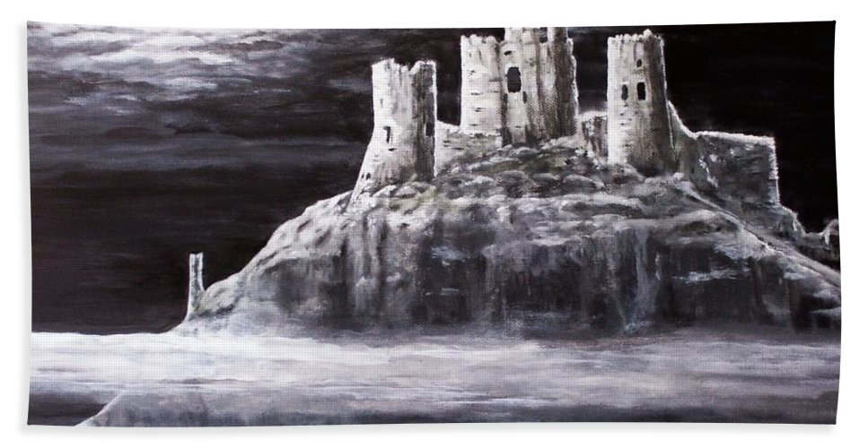 Castle Bath Sheet featuring the painting Castle In The Sky by Judy Kirouac