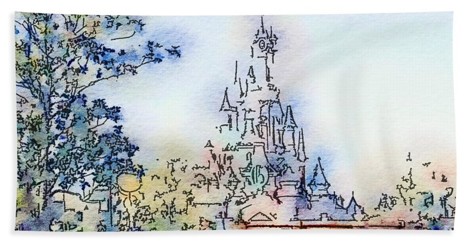 Castle Hand Towel featuring the painting Castle by Marianna Mills