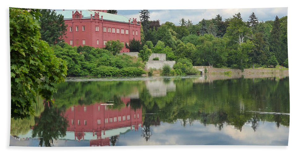 Ancient Hand Towel featuring the photograph Castle On The Lake by Miroslav Nemecek
