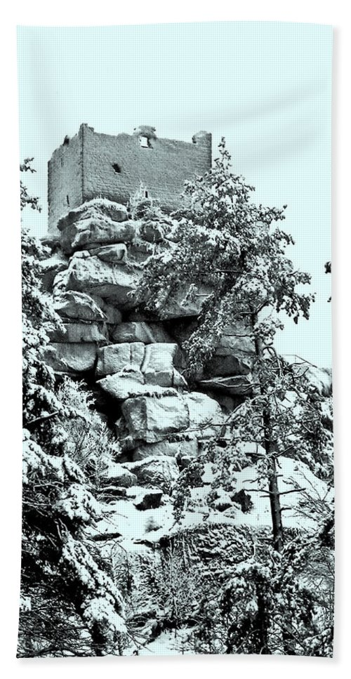 Europe Hand Towel featuring the photograph Castle Ruin Flossenbuerg by Juergen Weiss