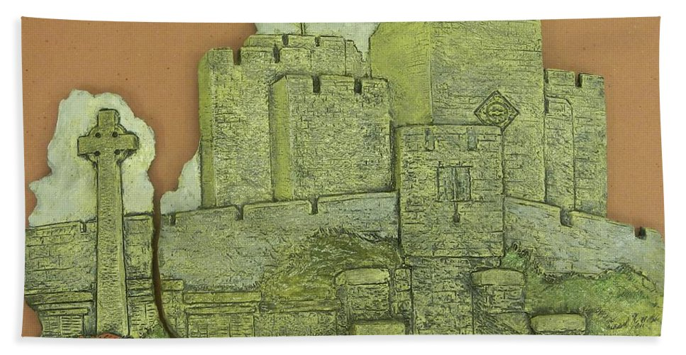 Manx Bath Sheet featuring the ceramic art Castle Rushen by Corey Jenny