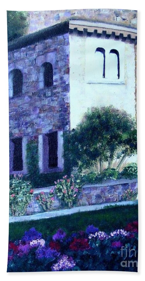 Italy Hand Towel featuring the painting Castle Sestri Levante by Laurie Morgan