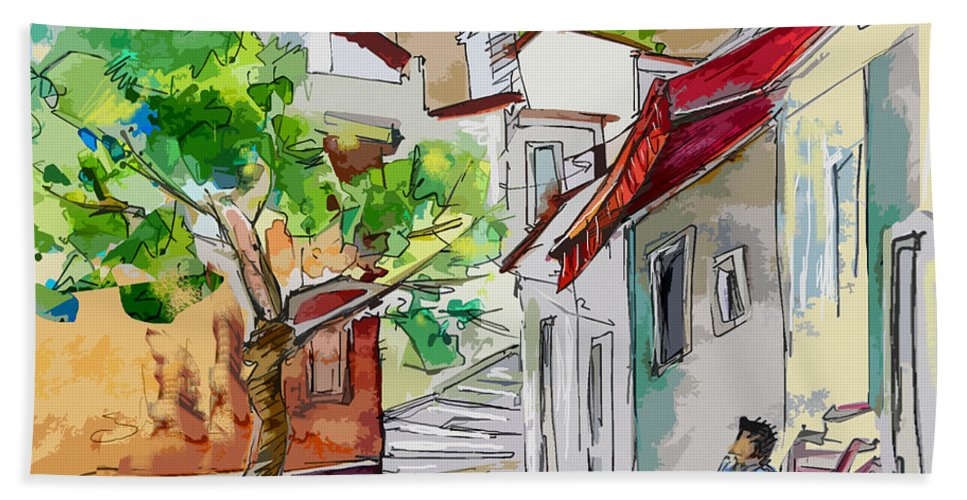 Castro Marim Portugal Algarve Painting Travel Sketch Bath Sheet featuring the painting Castro Marim Portugal 01 Bis by Miki De Goodaboom