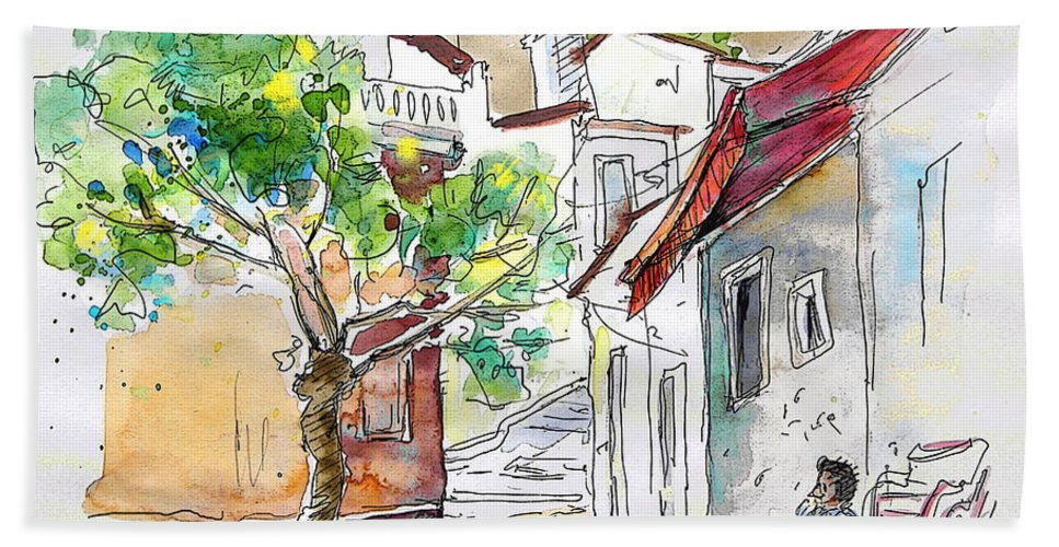 Water Colour Travel Sketch Castro Marim Portugal Algarve Miki Bath Towel featuring the painting Castro Marim Portugal 01 by Miki De Goodaboom