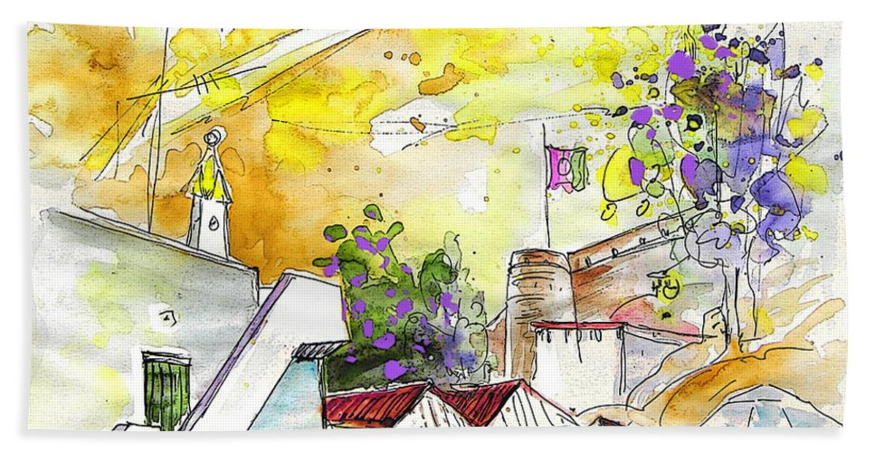 Water Colour Travel Sketch Castro Marim Portugal Algarve Miki Hand Towel featuring the painting Castro Marim Portugal 03 by Miki De Goodaboom
