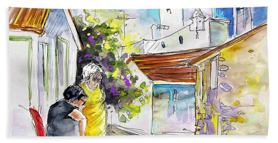 Water Colour Travel Sketch Castro Marim Portugal Algarve Miki Bath Towel featuring the painting Castro Marim Portugal 04 by Miki De Goodaboom