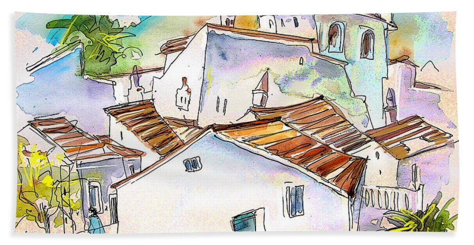 Water Colour Travel Sketch Castro Marim Portugal Algarve Miki Hand Towel featuring the painting Castro Marim Portugal 05 by Miki De Goodaboom