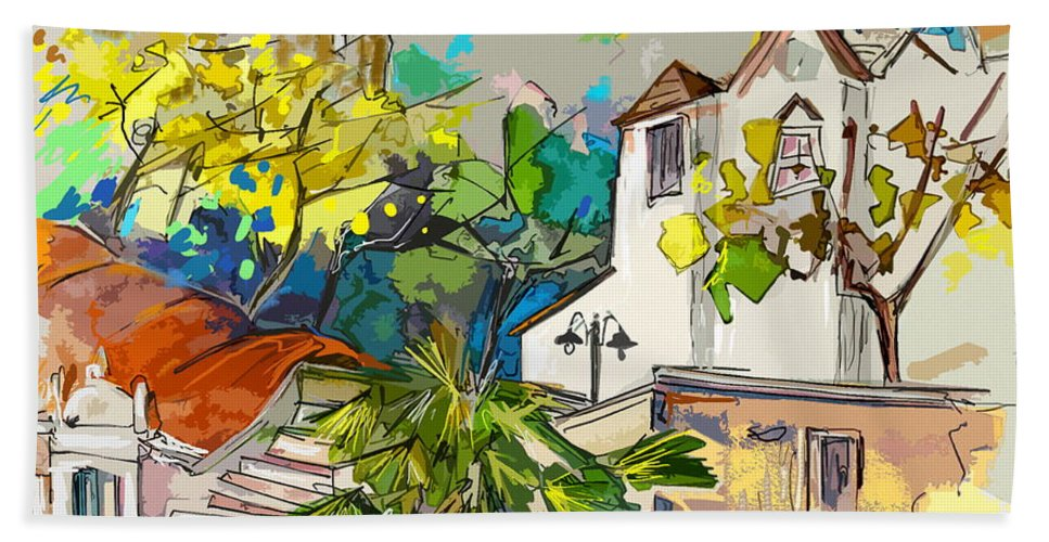 Castro Marim Portugal Algarve Painting Travel Sketch Hand Towel featuring the painting Castro Marim Portugal 13 Bis by Miki De Goodaboom