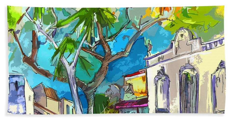 Castro Marim Portugal Algarve Painting Travel Sketch Hand Towel featuring the painting Castro Marim Portugal 14 Bis by Miki De Goodaboom