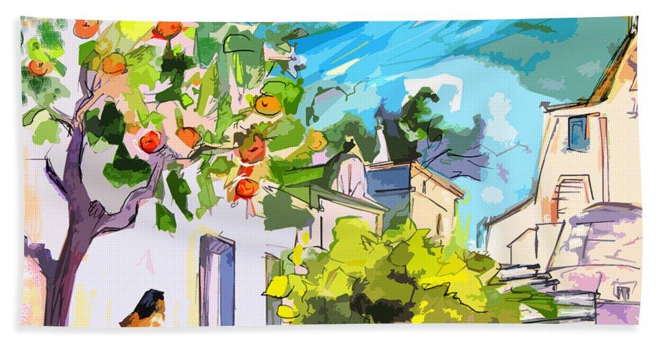 Castro Marim Portugal Algarve Painting Travel Sketch Hand Towel featuring the painting Castro Marim Portugal 15 Bis by Miki De Goodaboom