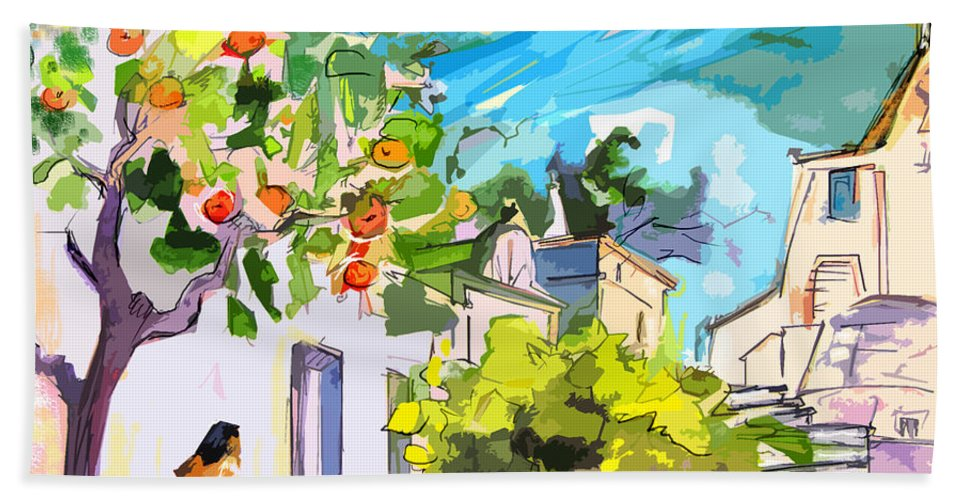 Castro Marim Portugal Algarve Painting Travel Sketch Bath Towel featuring the painting Castro Marim Portugal 15 Bis by Miki De Goodaboom