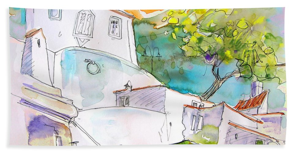 Castro Marim Portugal Algarve Painting Travel Sketch Bath Towel featuring the painting Castro Marim Portugal 17 by Miki De Goodaboom