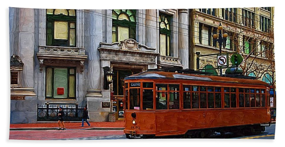 Trolley Hand Towel featuring the photograph Castro Street Trolley by Tom Reynen