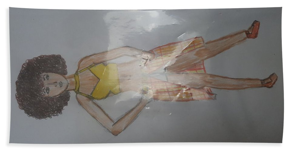 A Portrait Bath Sheet featuring the drawing Casual Wear Fashion Sketch by Iethiopia Myers