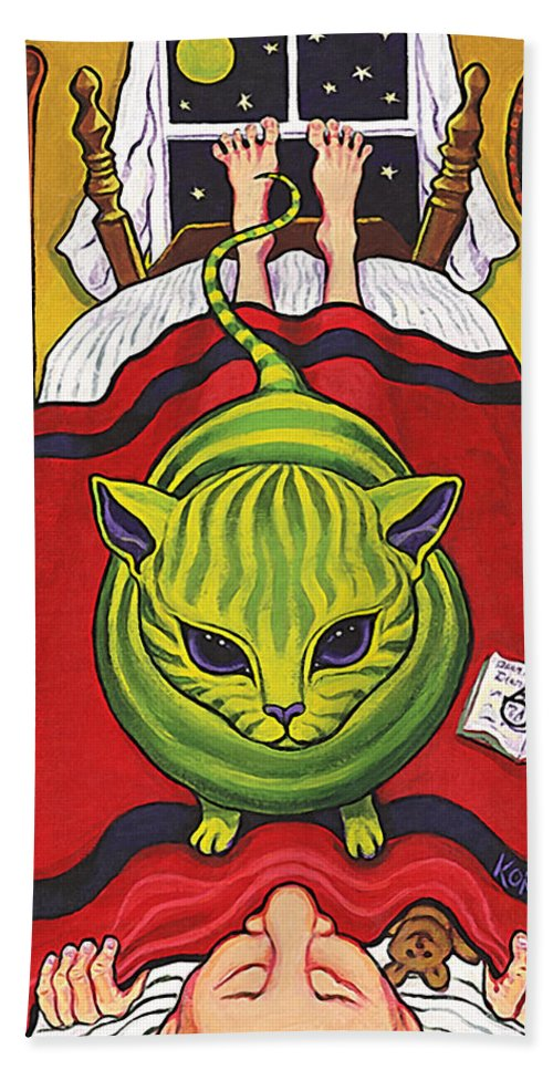 Rebecca Korpita Bath Sheet featuring the painting Cat - Alien Abduction by Rebecca Korpita