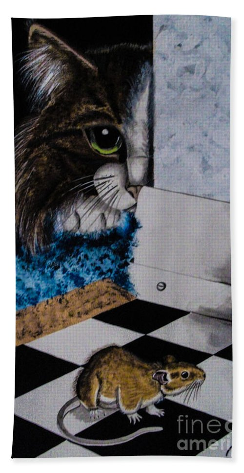 Cat. Mouse. Black And White. Animals. Fine Art. Unique Design. Checker Floor. Bath Sheet featuring the painting Cat And Mouse by Dawn Siegler