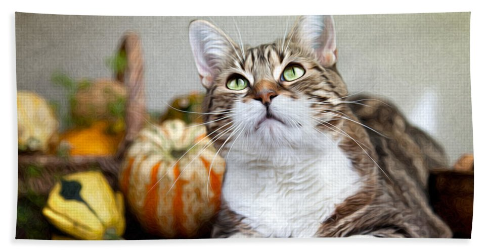 Cat Bath Towel featuring the painting Cat And Pumpkins by Nailia Schwarz