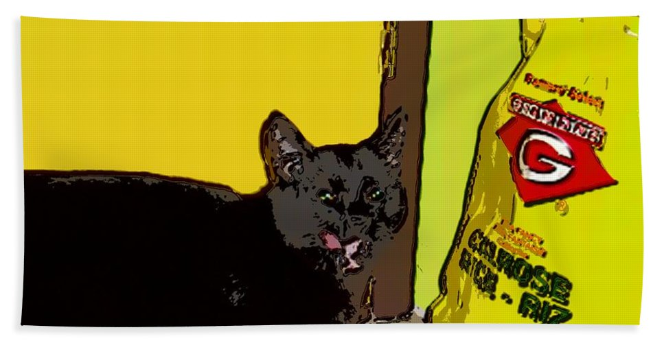 Photograph Cat Black Rice Yellow Critter Green Red Hand Towel featuring the photograph Cat And Rice by Seon-Jeong Kim