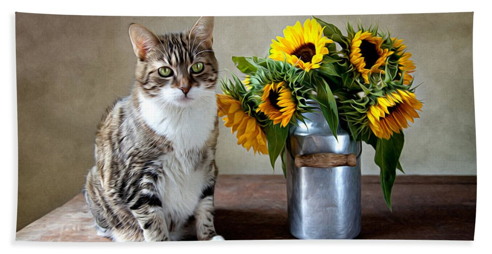 Cat Bath Towel featuring the painting Cat and Sunflowers by Nailia Schwarz