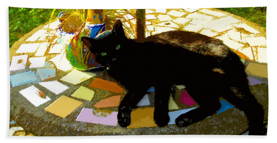 Black Cat Hand Towel featuring the painting Cat And Table by David Lee Thompson