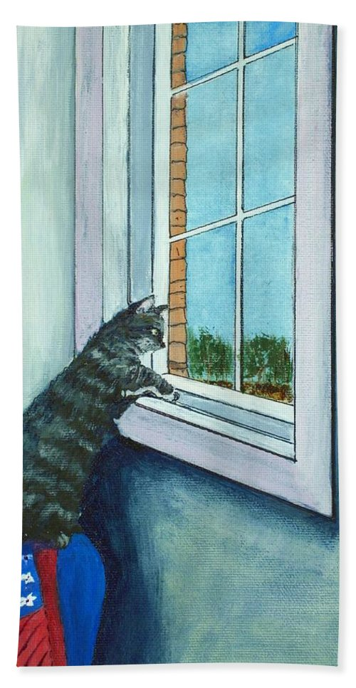 Cat Hand Towel featuring the painting Cat By The Window by Anastasiya Malakhova