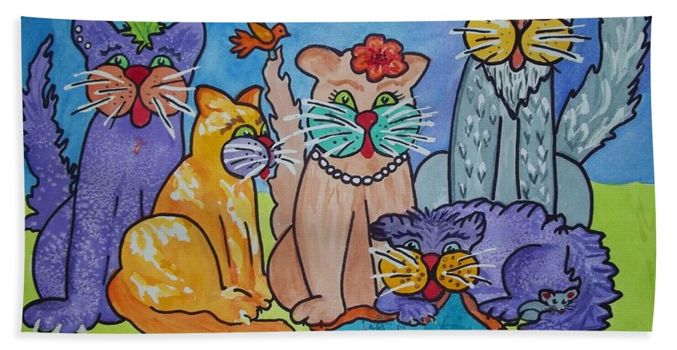 Cats Bath Sheet featuring the painting Cat Family Gathering by Ellen Levinson