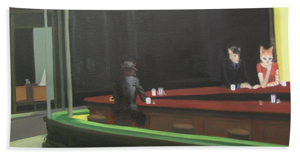Nighthawks Bath Sheet featuring the painting Cat Hawks At The Diner by Gail Eisenfeld