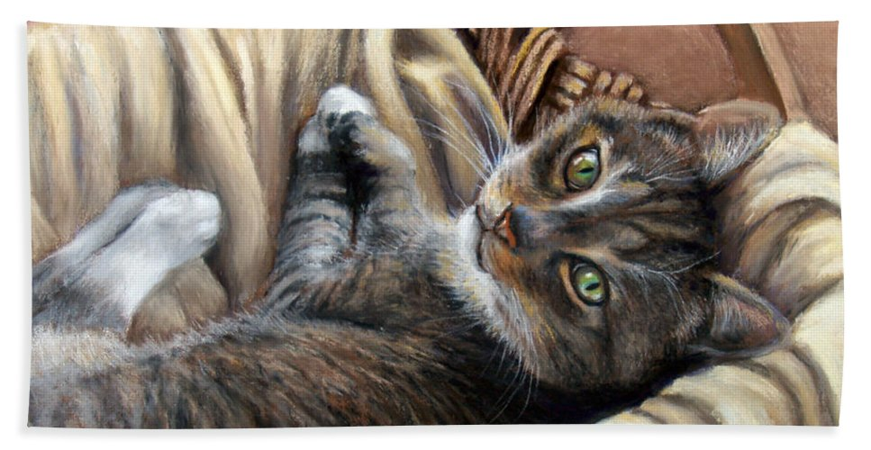 Animal Hand Towel featuring the pastel Cat In A Basket by Susan Jenkins