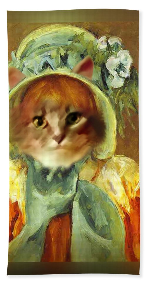 Cassatt Hand Towel featuring the painting Cat In Bonnet by Gravityx9 Designs
