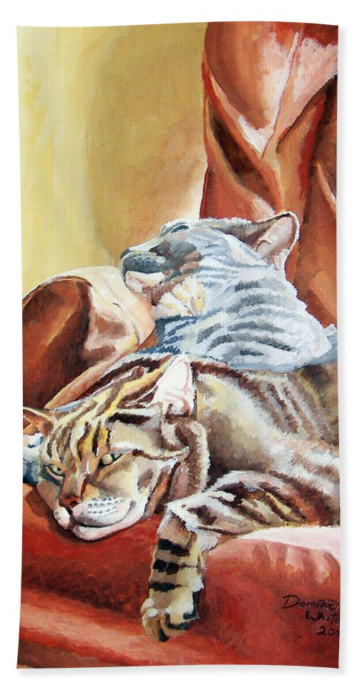 Cats Hand Towel featuring the painting Cat Nap by Dominic White