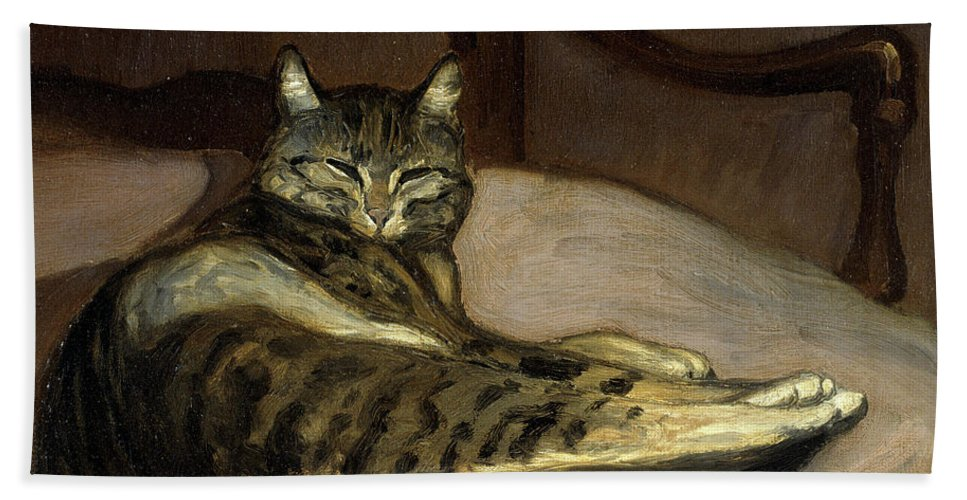 Theophile-alexandre Steinlen Bath Sheet featuring the painting Cat On A Chair by Theophile-Alexandre Steinlen