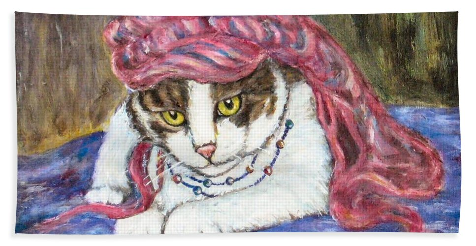 Cat Painting Bath Sheet featuring the painting Tabby Cat With Yellow Eyes by Frances Gillotti