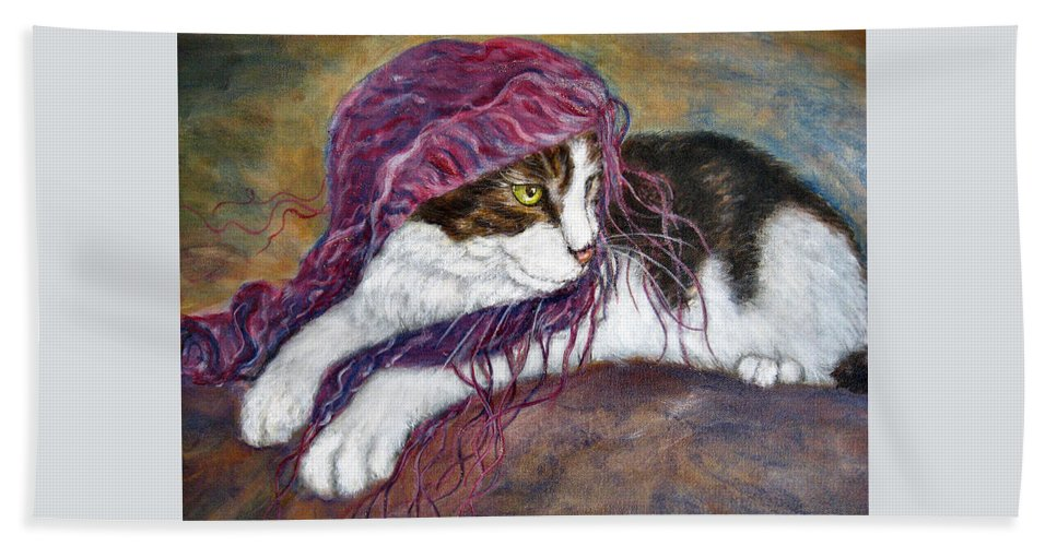 Tortoise Cat Hand Towel featuring the painting Cat Painting Charlie The Pirate by Frances Gillotti