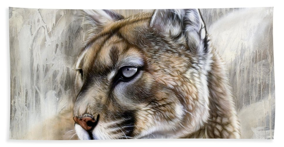 Acrylic Hand Towel featuring the painting Catamount by Sandi Baker