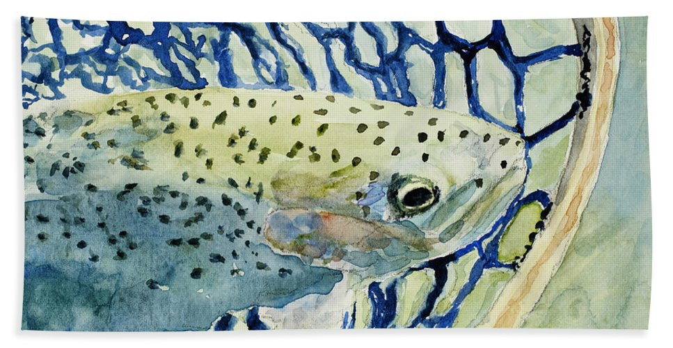 Fish Hand Towel featuring the painting Catch And Release by Mary Benke