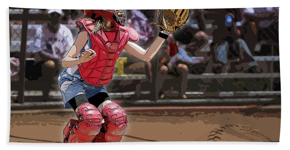 Softball Hand Towel featuring the photograph Catch It by Kelley King