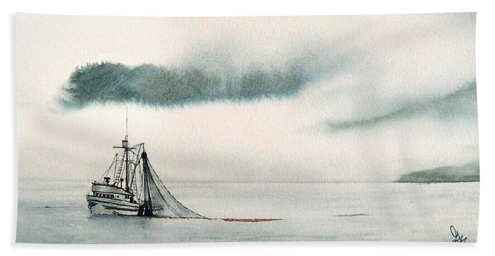 Fishing Boat Bath Towel featuring the painting Catch Of The Day by Gale Cochran-Smith