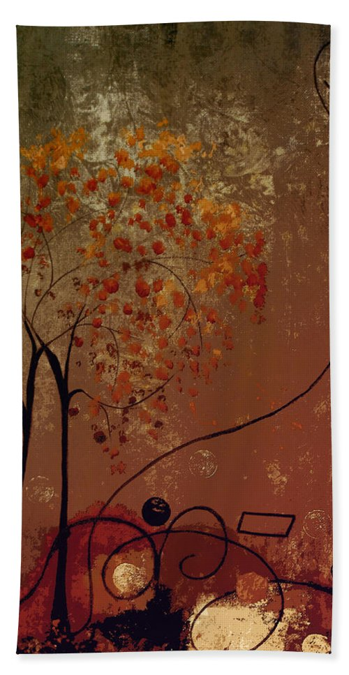 Abstract Hand Towel featuring the mixed media Catch The Moon by Ruth Palmer