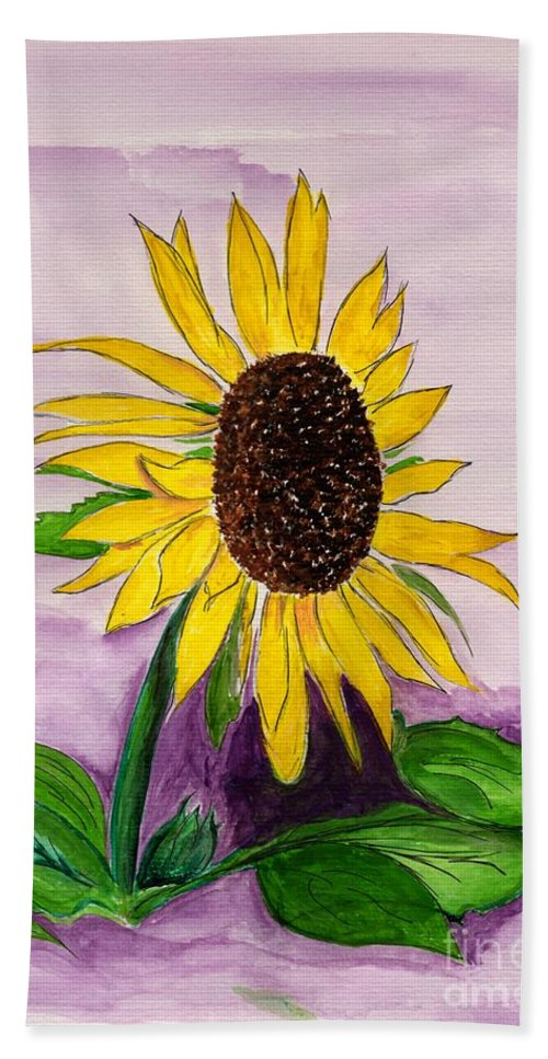 Sunflower Bath Sheet featuring the painting Catching A Sunflower by Anne Gitto